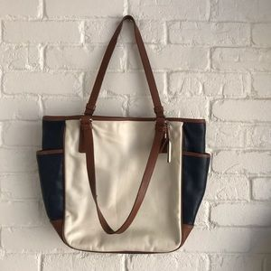 Coach Handbag / Tote Color block cream Navy Purse